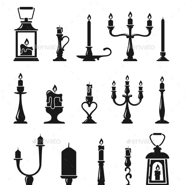 Candlesticks and Old Lamps Silhouette Set