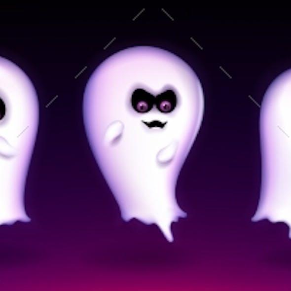 Cute Ghost Funny Halloween Creature Express Emoji