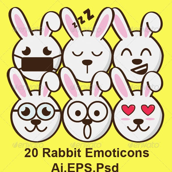 20 Rabbit Emoticons
