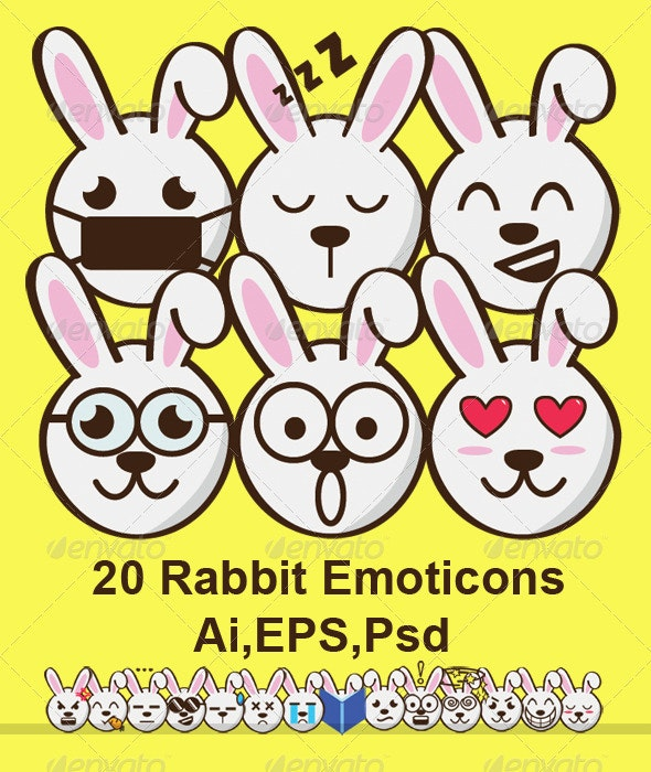 20 Rabbit Emoticons