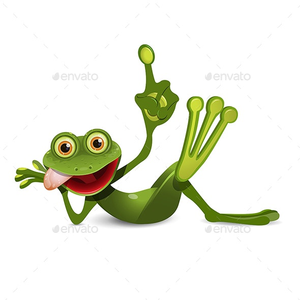 Illustration of a Cheerful Green Frog with Index Finger - Animals Characters