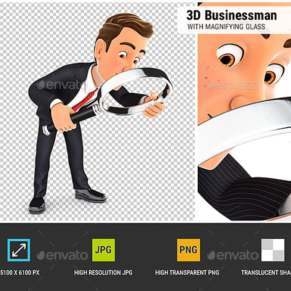 3D Businessman Looking Floor with Magnifying Glass