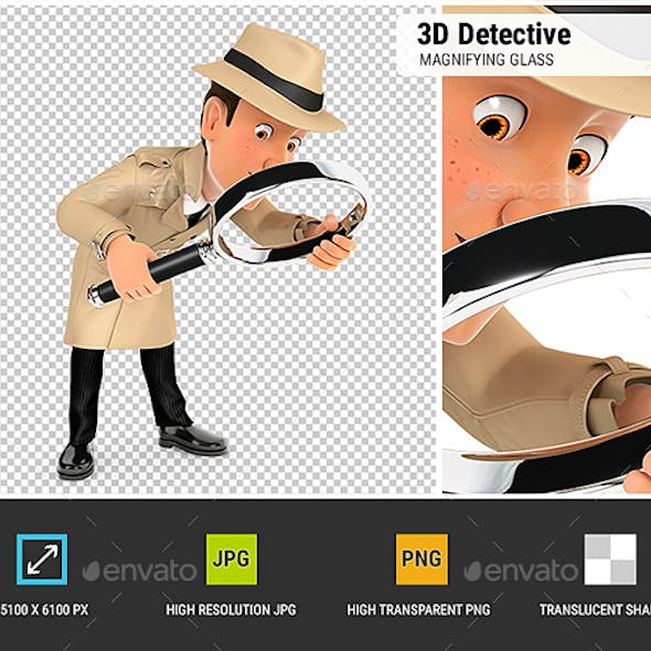 3D Detective Looking Floor with Magnifying Glass