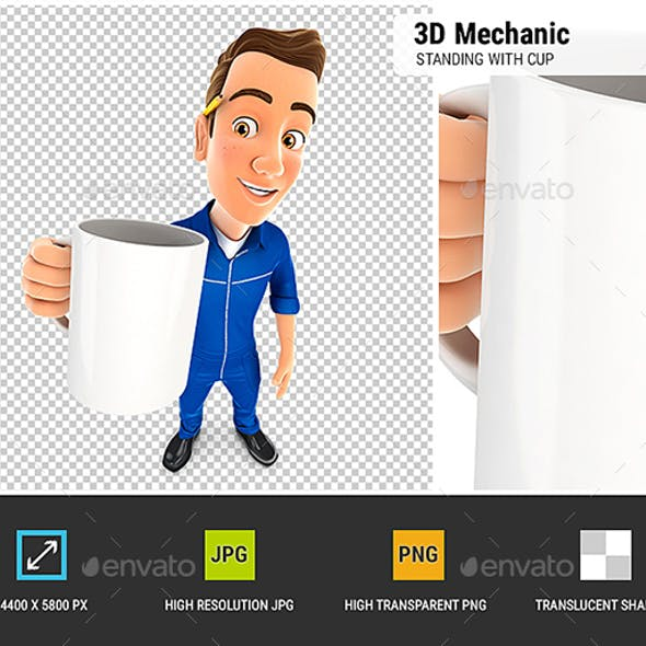3D Mechanic Standing with Cup