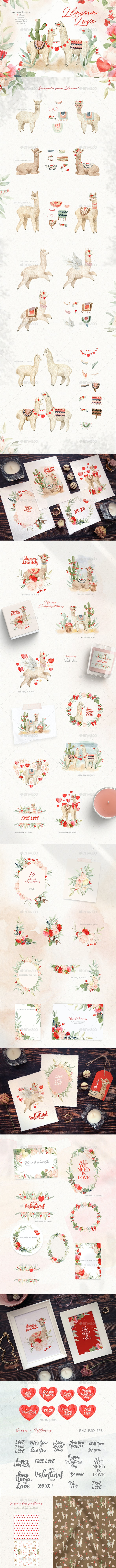 Love Llama - Valentines Day Watercolor Clipart - Animals Illustrations
