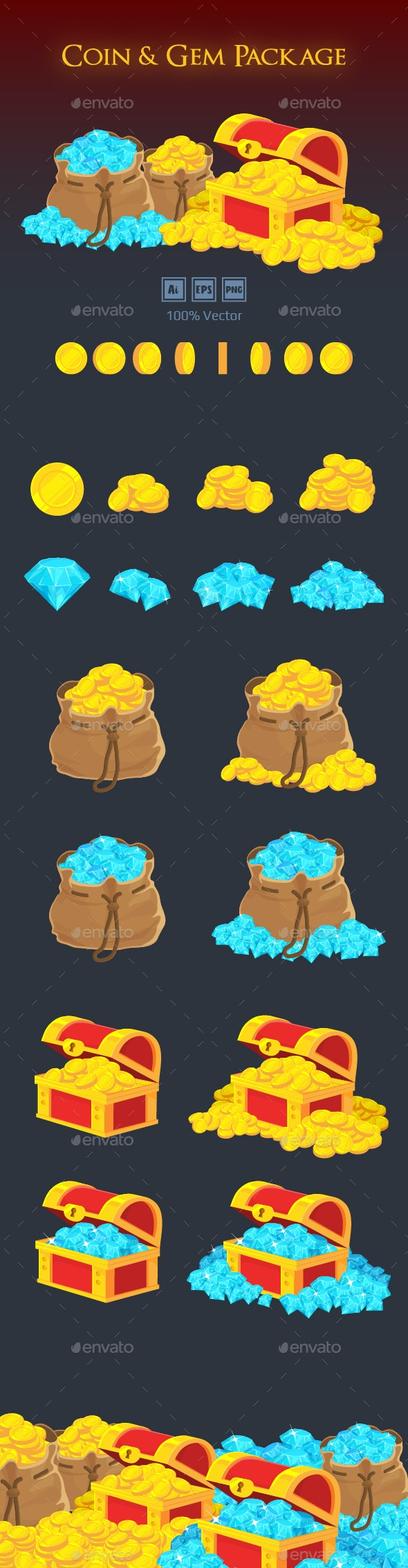Coin & Gem Package - Miscellaneous Game Assets