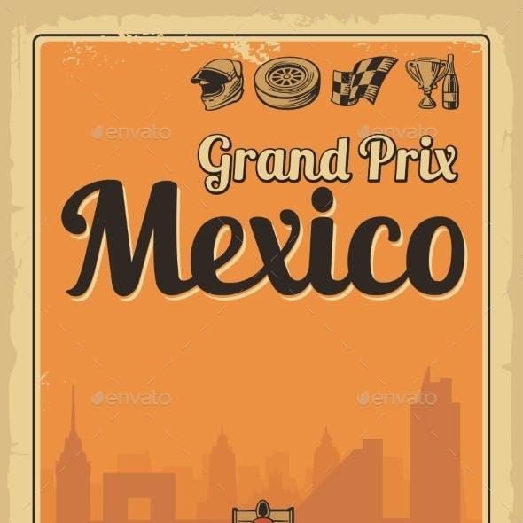 Vintage Poster Grand Prix Mexico