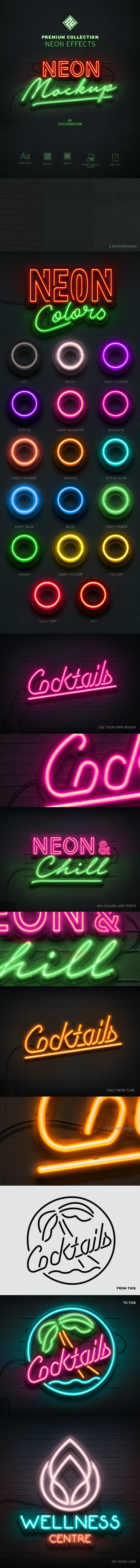 Neon Sign Effect - Premium Collection - Actions Photoshop