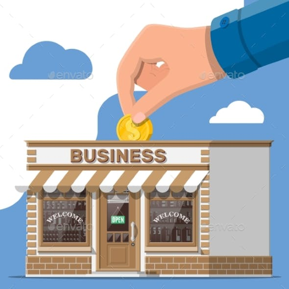 Shop Building Commercial Property Hand with Coin