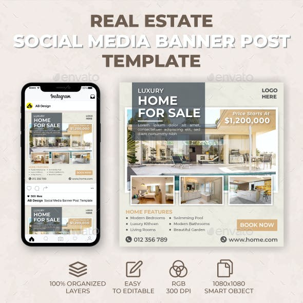 Real Estate Social Media Banner Post Template