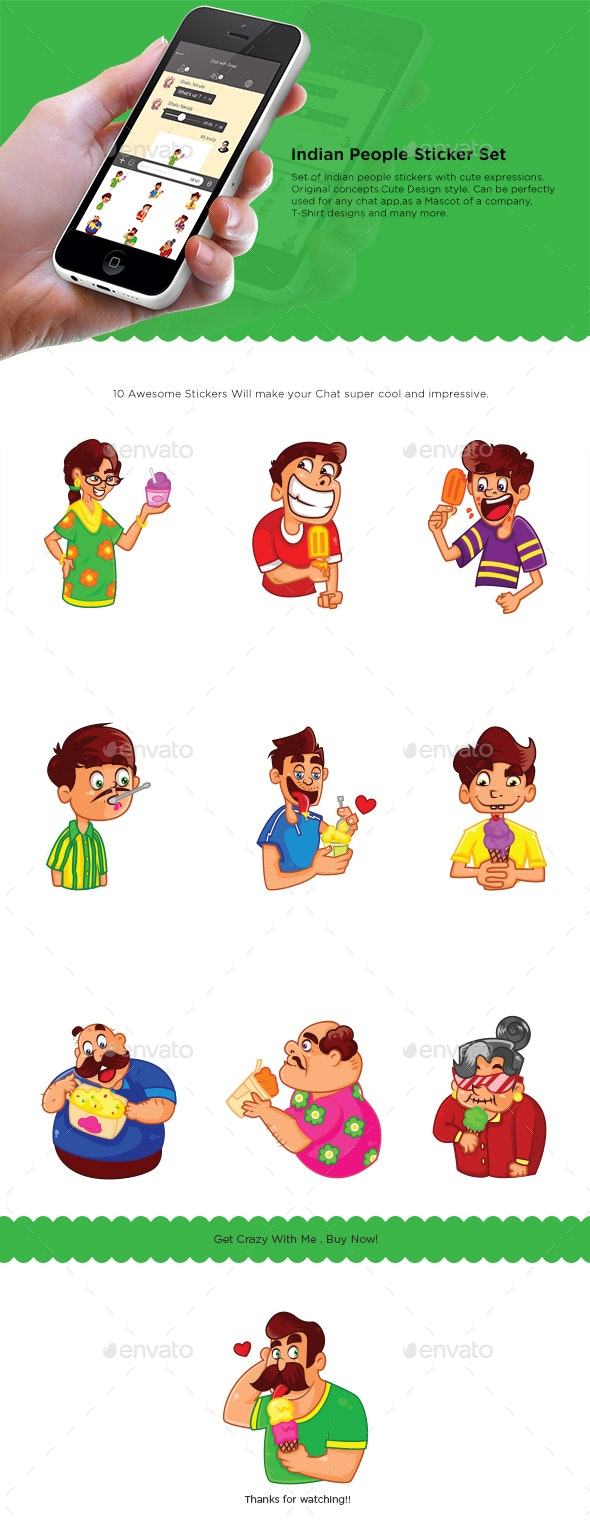 Indian People Sticker Set - People Characters