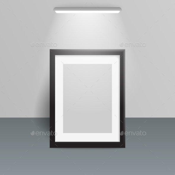 Photo Frame Illuminated Design Light Wall Vector - Objects Vectors
