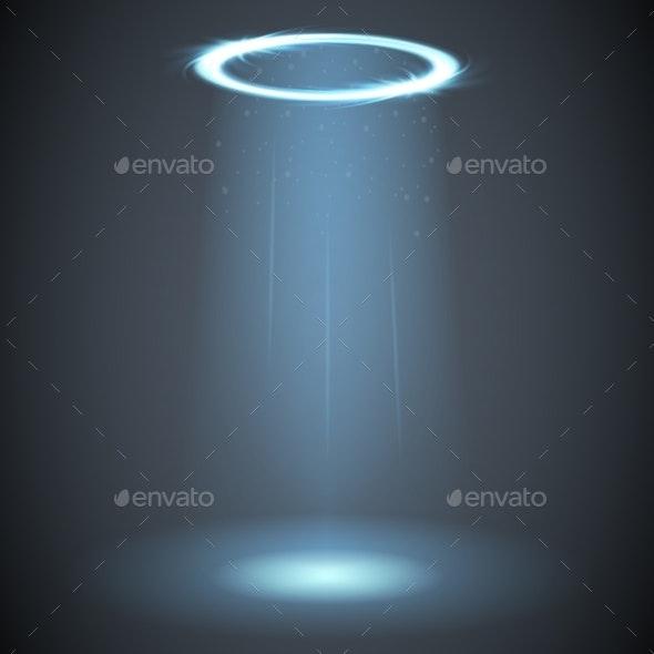 Ufo Light Effect Glow Circle Rays Energy Screen - Backgrounds Decorative