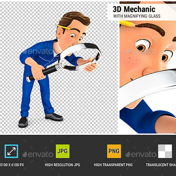 3D Mechanic Looking Floor with Magnifying Glass