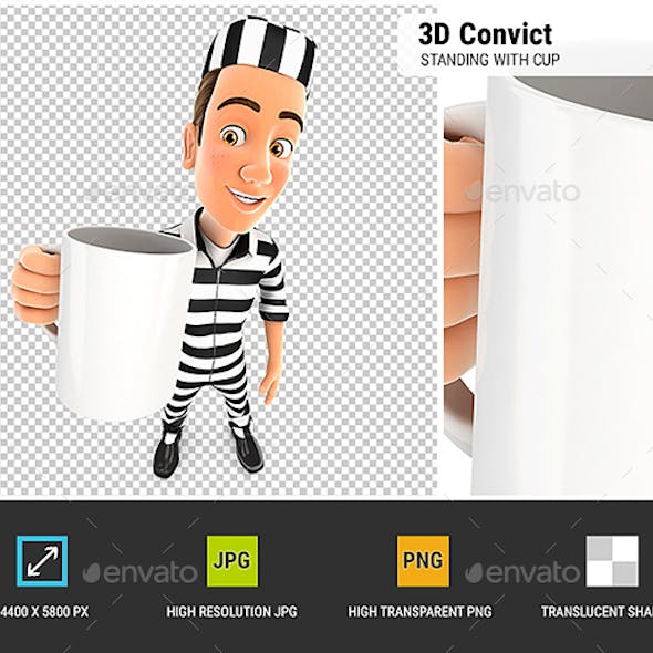 3D Convict Standing with Cup