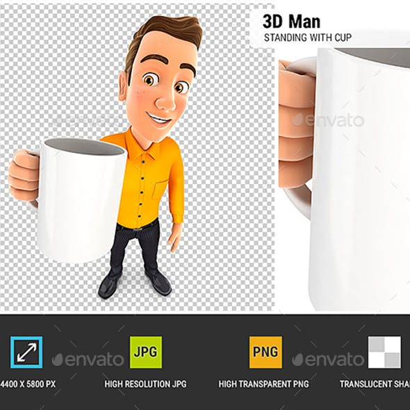 3D Man Standing with Cup