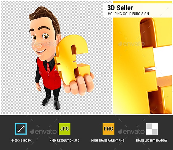 3D Seller Holding Gold Euro Sign - Characters 3D Renders