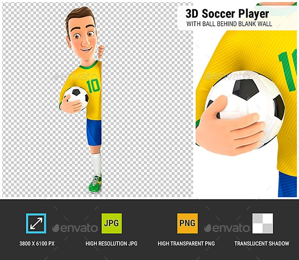 3D Soccer Player Yellow Jersey with Ball Behind Blank Wall - Characters 3D Renders