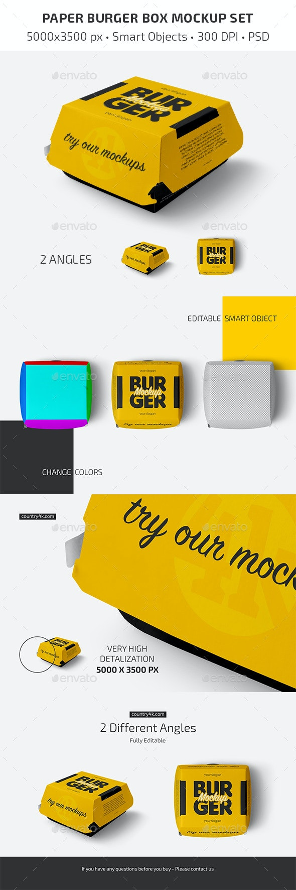 Paper Burger Box Mockup Set - Food and Drink Packaging