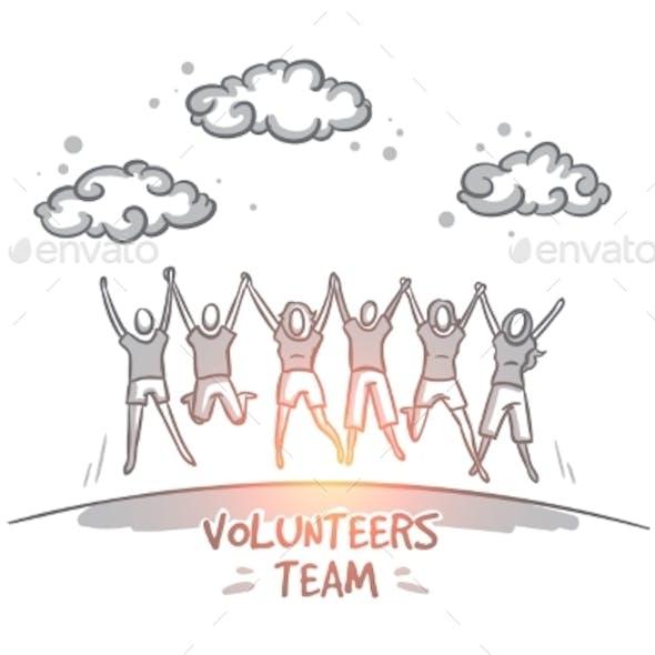Volunteers Team Concept