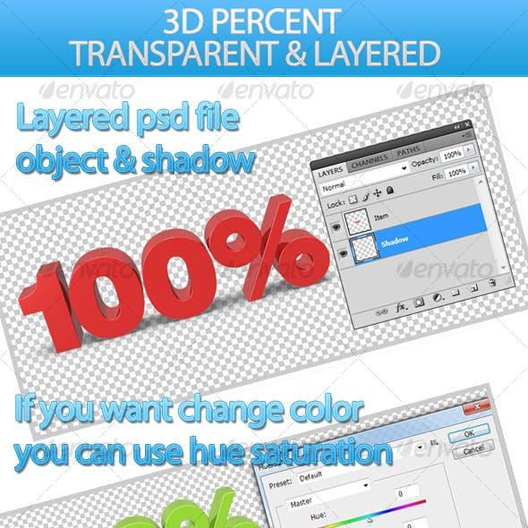3D Percentage Signs