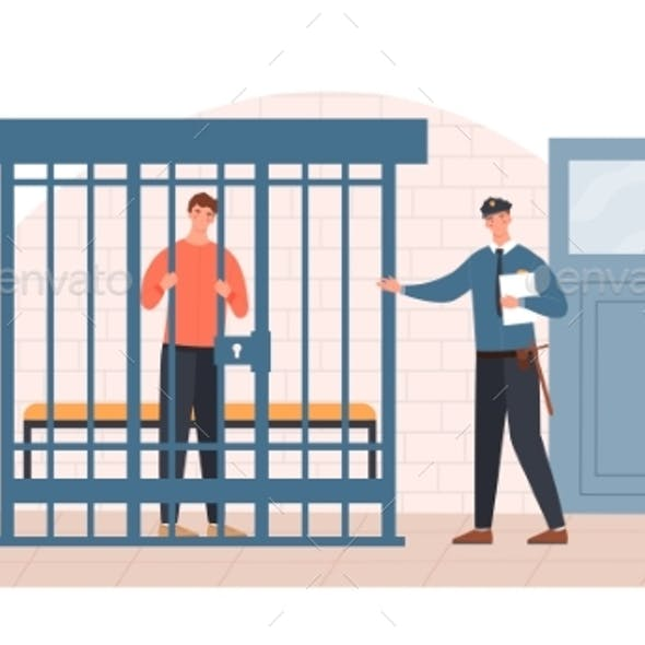 Male Police Officer Is Talking To a Prisoner