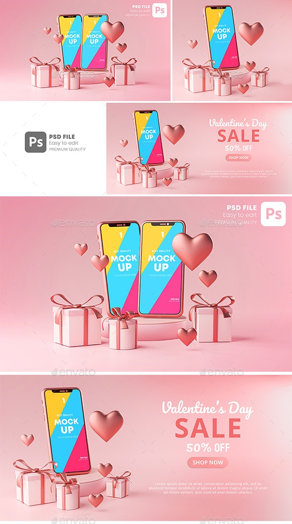 Smartphone Mockup Valentine Day Sale Love Heart Shape and Gift Box 3D Rendering - Mobile Displays