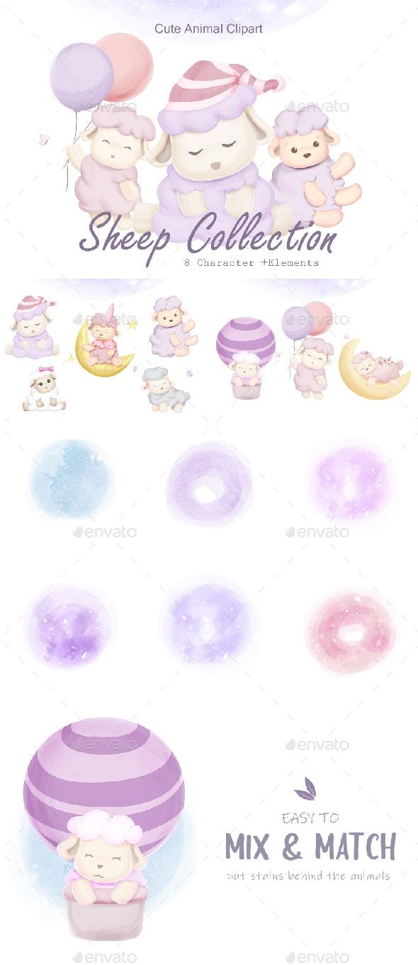 Sheep Animal Set - Characters Illustrations