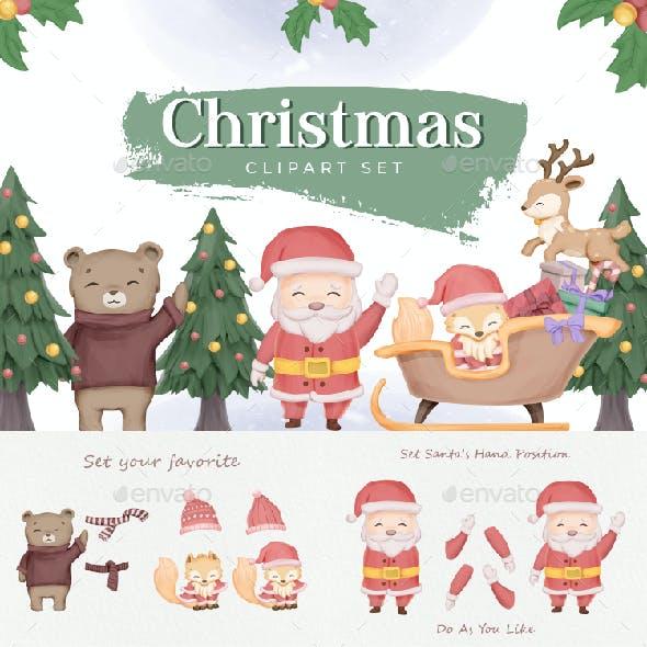 Christmas Clipart Character Set