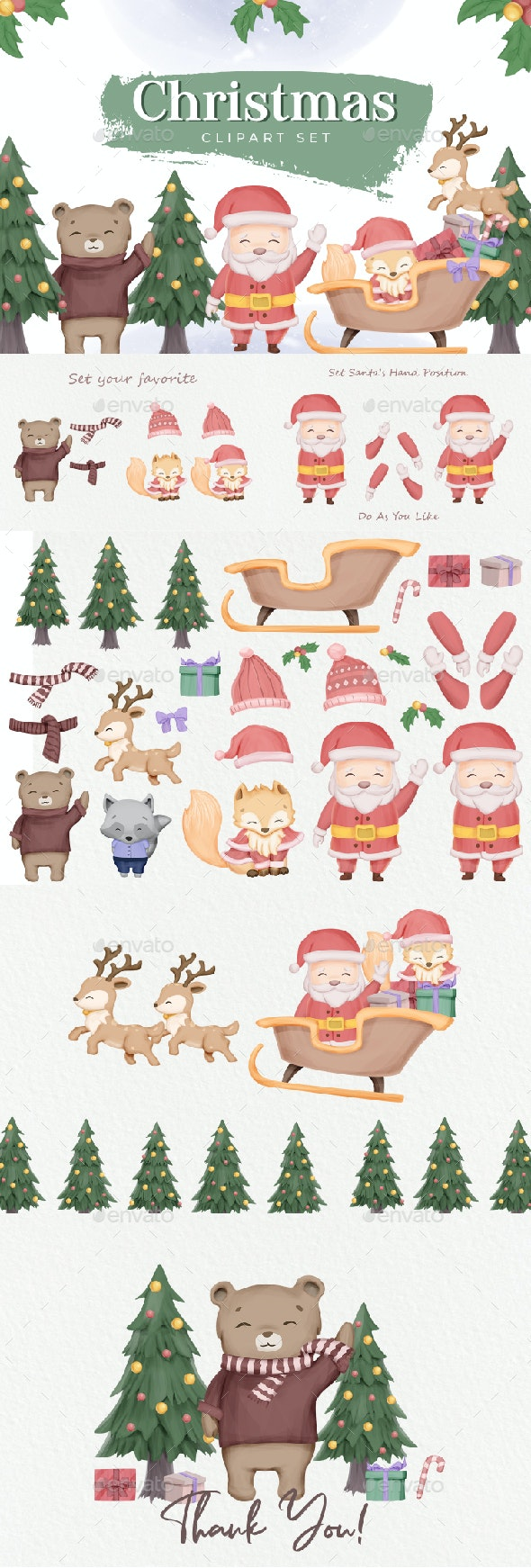 Christmas Clipart Character Set - Characters Illustrations
