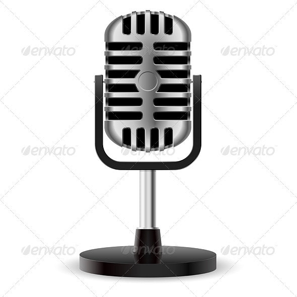 Realistic retro microphone - Man-made Objects Objects