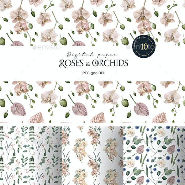 Watercolor Roses and Orchids Seamless Patterns