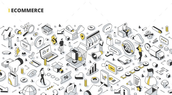 Ecommerce Isometric Banner Illustration - Concepts Business