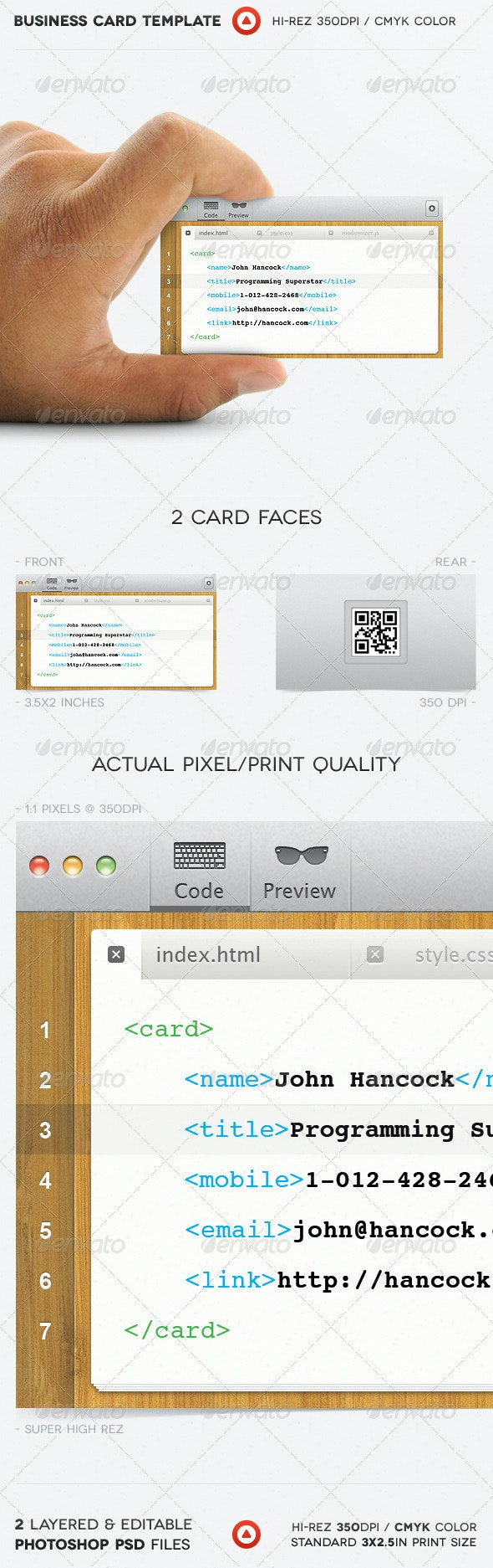 Programmer Business Card - Industry Specific Business Cards