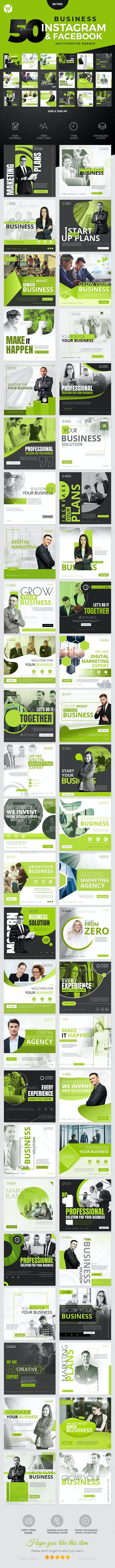 50 Instagram & Facebook Business Banners - Social Media Web Elements
