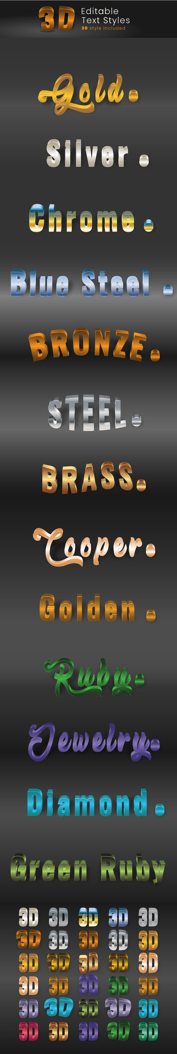3D Text Effect Styles for Illustrator. - Illustrator Add-ons