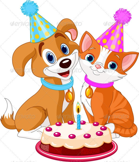 Cat and Dog celebrating - Animals Characters