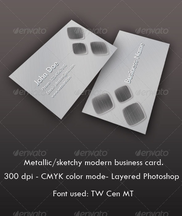 Sketchy/Metallic Modern Business Card - Corporate Business Cards