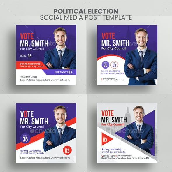 Political Election Social Media Post Banner Template