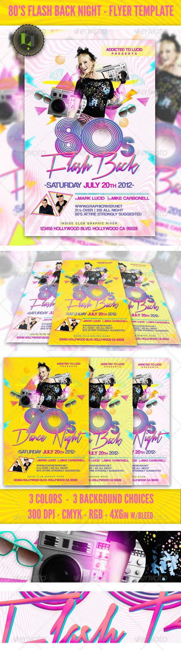 80's Flash Back Night - Flyer Template - Clubs & Parties Events