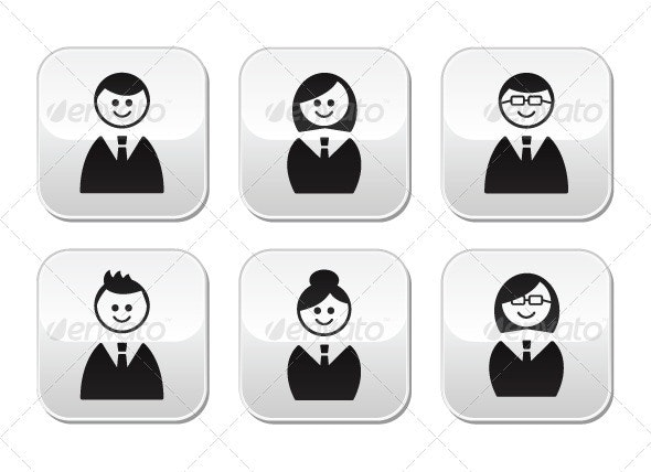 Users icons - glossy buttons set - People Characters