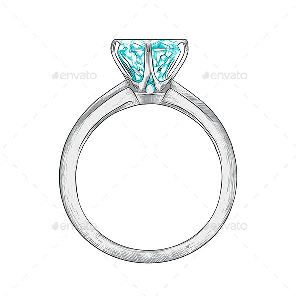Hand Drawn Sketch Of Engagement Ring - Miscellaneous Conceptual