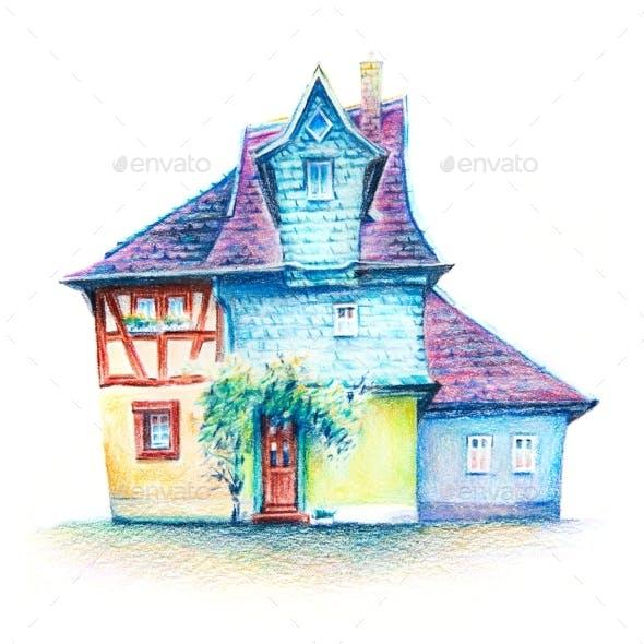 Coplored Pencils Sketch of Cozy German House