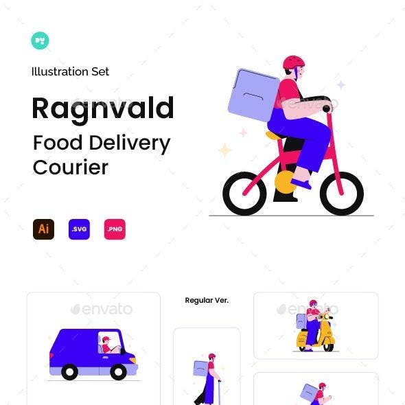 Ragnvald Food Delivery Illustrations Set