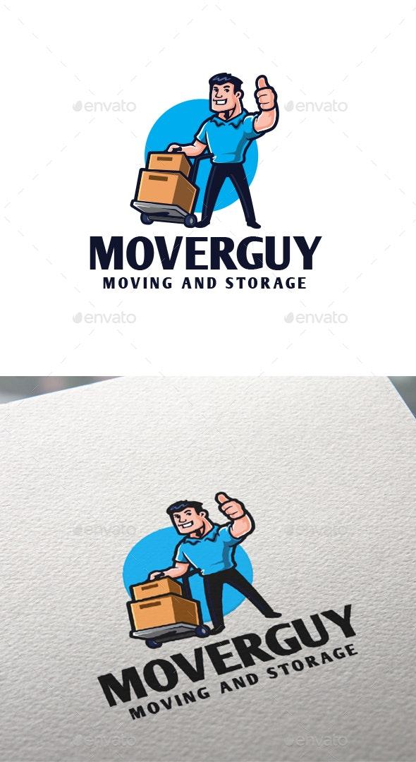 Cartoon Mover Guy Character Mascot Logo - Humans Logo Templates