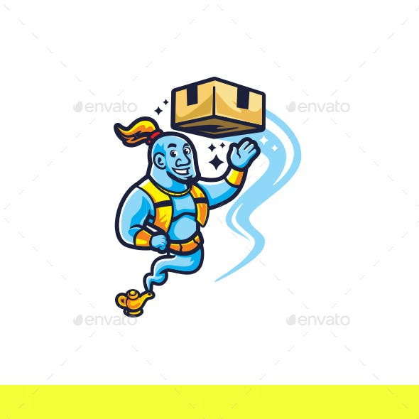 Cartoon Moving Genie Character Mascot Logo