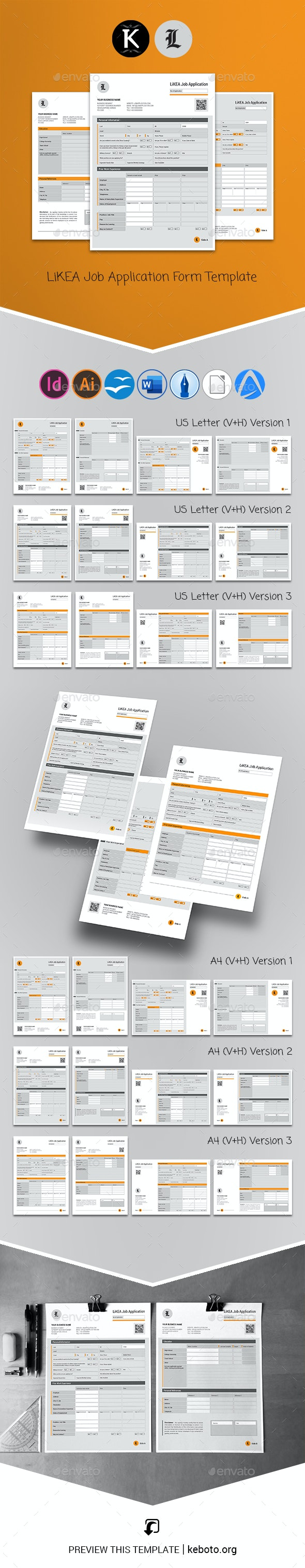 LiKEA Job Application Form Template - Miscellaneous Print Templates