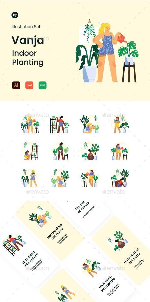 Vanja Indoor Planting Illustration Set - Web Elements Vectors