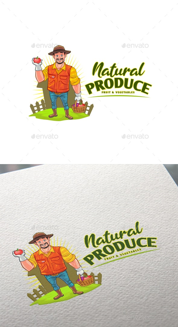 Cartoon Natural Produce - Farmer Mascot Logo - Nature Logo Templates