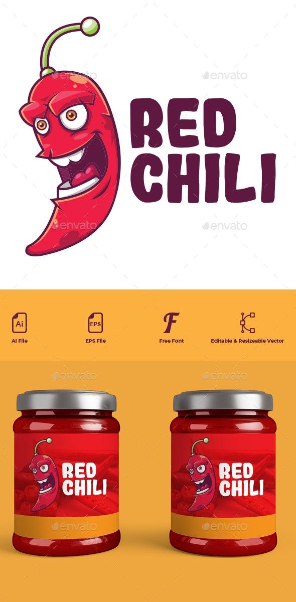 Red Chili Cartoon Logo - Food Logo Templates